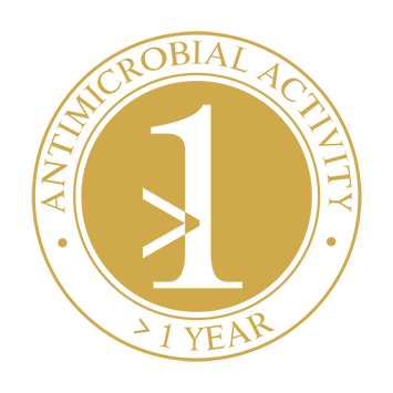 > 1 year strong antimicrobial activity