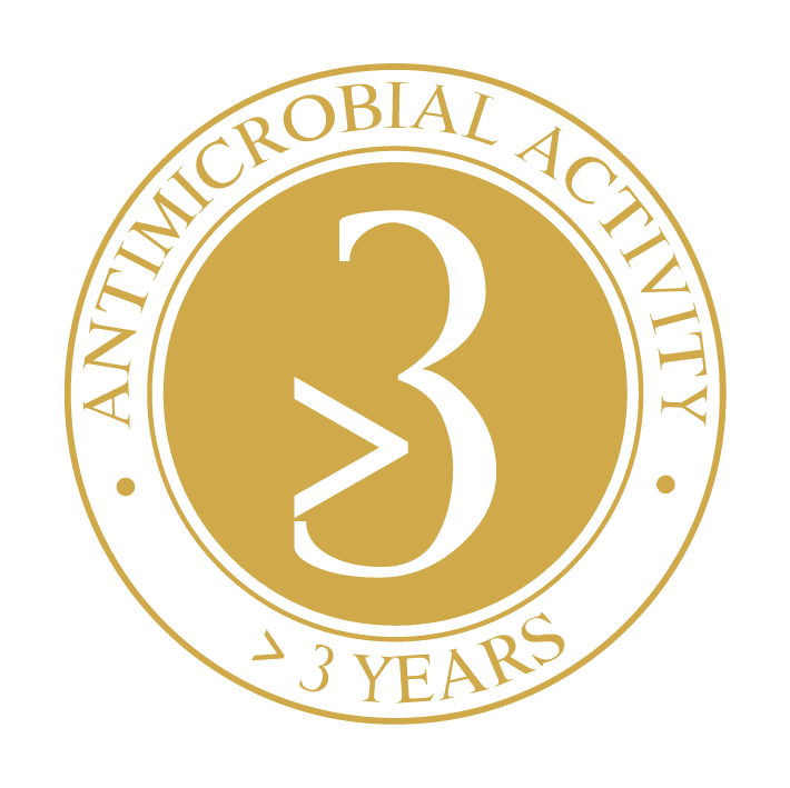 > 3 year strong antimicrobial activity